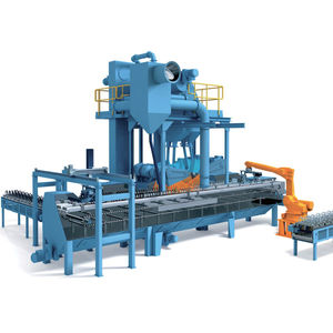 roller shot blasting machine / for springs / continuous / automatic