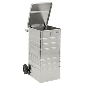aluminum waste bin / for paper / with lid / 2-wheel