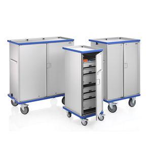 storage and dispensing cabinet / on casters / hinged door / double-door