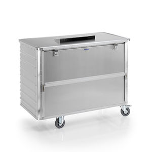 aluminum waste bin / for paper / with lid / 4-wheel
