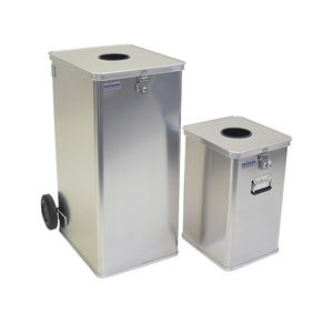 aluminum waste bin / for medical waste / with lid / 4-wheel