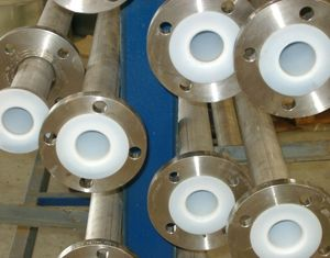 gas pipe / stainless steel / for chlorine / PTFE-lined