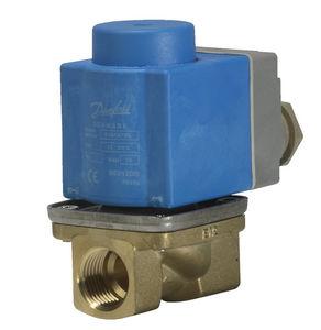 pilot-operated solenoid valve / 2/2-way / NC / brass