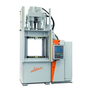 vertical injection molding machine / hydraulic / for rubber / multi-component