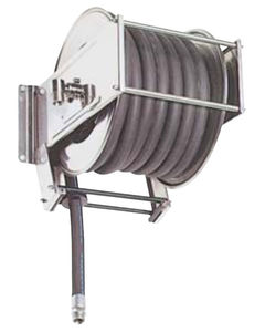 cleaning hose reel / self-retracting / fixed / stainless steel