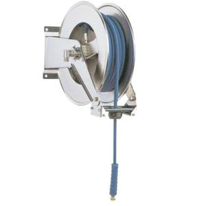 hose reel / self-retracting / wall-mounted / stainless steel