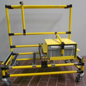 transfer cart / metal / battery / with swivel casters