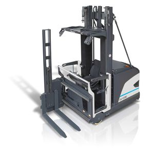 electric reach truck / ride-on / for warehouses / for very narrow aisles