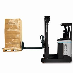 electric reach truck / side-facing seated / for warehouses / for very narrow aisles