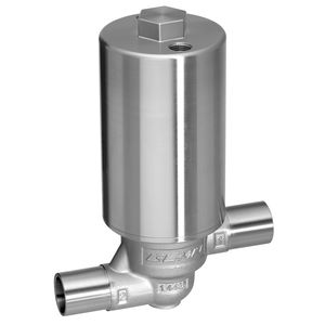 filling valve / diaphragm / pneumatically-operated / stainless steel