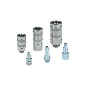 compressed air fitting / quick / straight / nickel-plated brass