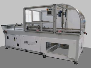 PLC-controlled tray forming machine / horizontal / hot-melt glue