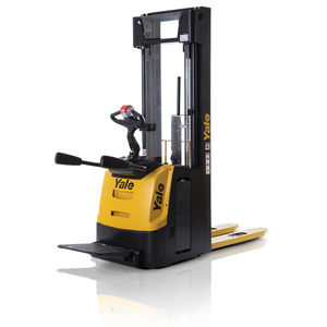 electric stacker truck / with rider platform / walk-behind / for pallets