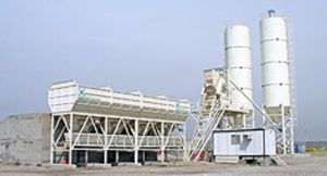 silo with mixer / weighing / cement / for precast concrete