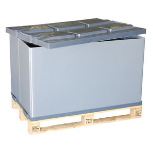 plastic pallet box / stacking / with folding sides