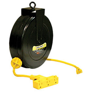 cable reel / self-retracting / fully-enclosed / steel