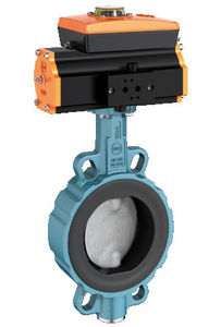 butterfly valve / pneumatically-operated / wafer
