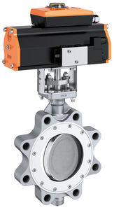 butterfly valve / pneumatically-operated / lug type / double-offset