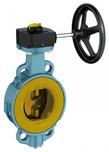 butterfly valve / with handwheel / wafer / for abrasive fluids