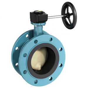 butterfly valve / with handwheel / for wastewater / double-flange