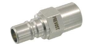 female hose adapter / threaded / stainless steel / brass