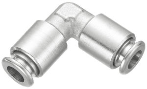 push-in fitting / 90° angle / hydraulic / nickel-plated brass