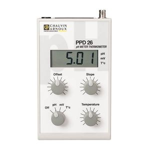 portable pH meter / laboratory / digital / with thermometer