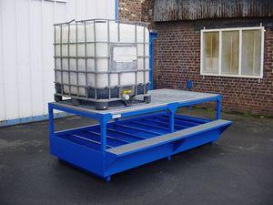 cubitainer containment bund / steel / with galvanized grid
