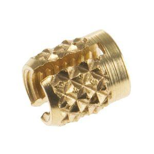 threaded insert / knurled / brass / round