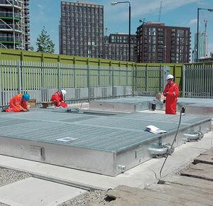 transformer containment bund / galvanized steel / rigid / with galvanized grid