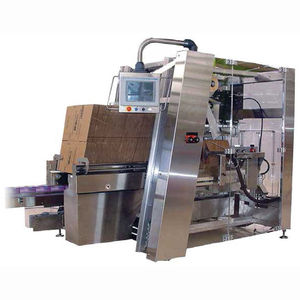 lateral case packer / automatic / compact / hot-melt glue