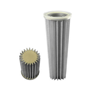 air filter cartridge / dust / stainless steel / pleated