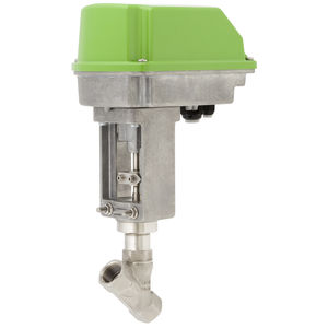 electrically-operated valve / regulating / for compressed air / angle seat