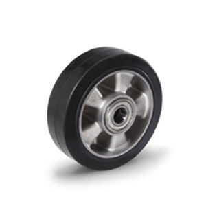 wheel with solid tire / rubber / aluminum / for trolleys