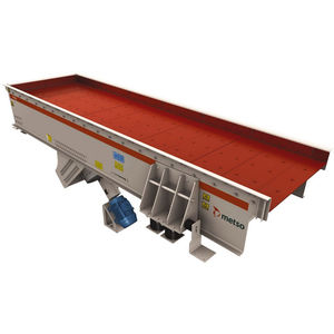 vibrating feeder / continuous-motion / for conveyor belts