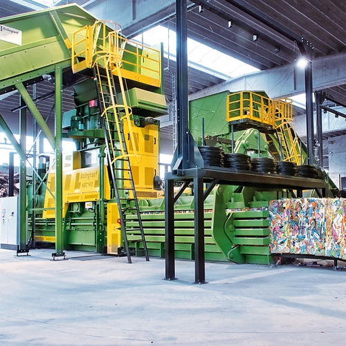 horizontal baling press / channel / top-loading / solid waste