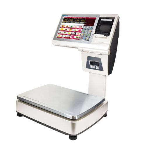 retail scale / with touch screen / dual-display / stainless steel pan