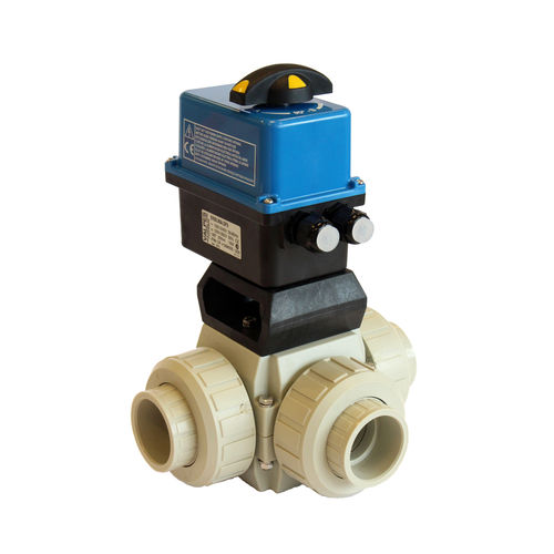 ball valve / electrically-actuated / T / PP