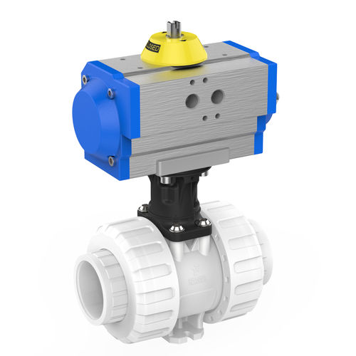 ball valve / pneumatically-operated / for liquid food products and beverages / aluminium