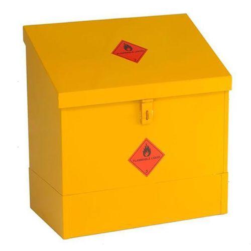 steel waste bin / for liquid waste / with lid