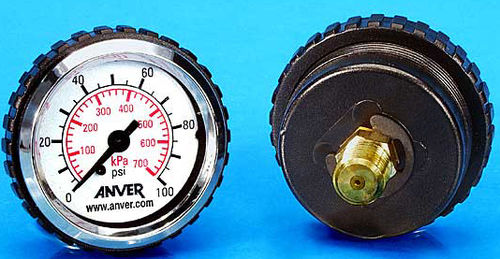 dial pressure gauge / bellows / for vacuum / threaded
