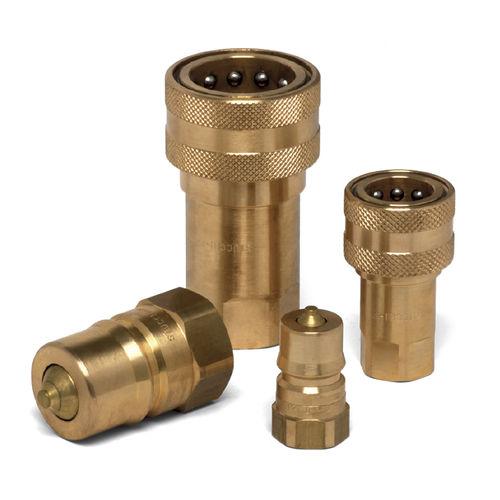 quick coupling / straight / hydraulic / brass