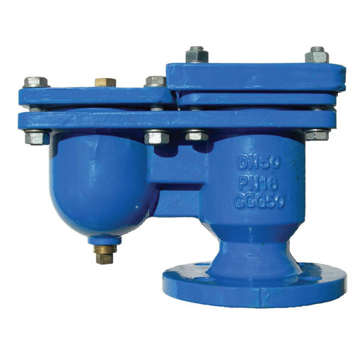 pneumatically-operated valve / float / for wastewater / cast iron