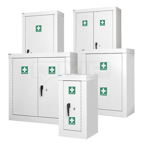 security cupboard / floor-mounted / steel / for medical devices