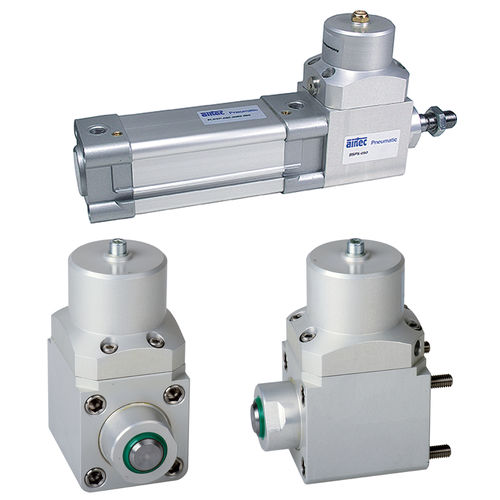 pneumatic cylinder / with piston rod / double-acting / with adjustable cushions