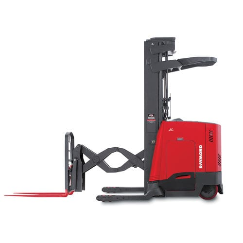 electric reach truck / stand-on / narrow-aisle / for warehouses