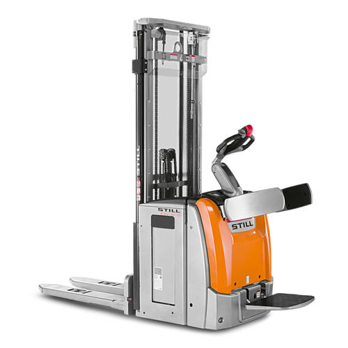 high-lift stacker truck / electric / with rider platform / for pallets