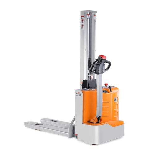 high-lift stacker truck / electric / walk-behind / narrow-aisle