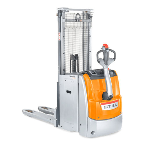 high-lift stacker truck / electric / walk-behind / double-pallet