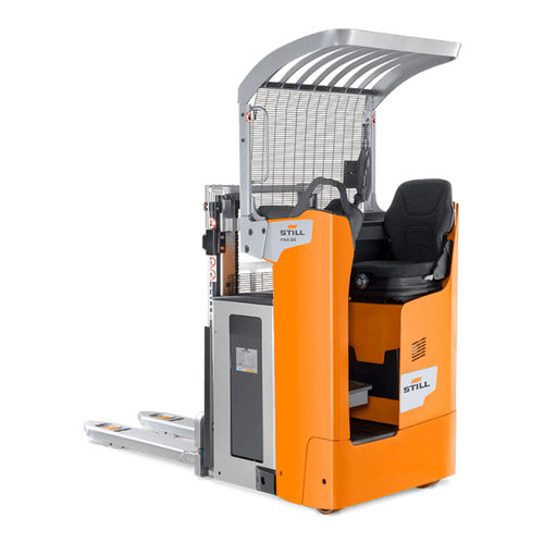 electric stacker truck / side-facing seated / transport / double-pallet